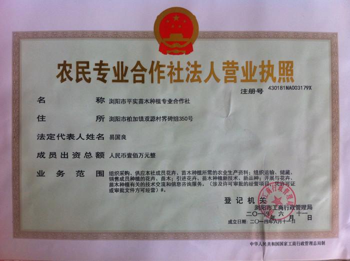 湖南省浏阳市平实苗木种植专业合作社